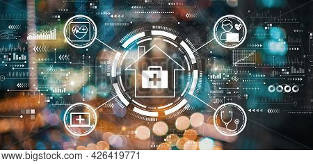 Telehealth Theme With Blurred City Abstract Lights Background