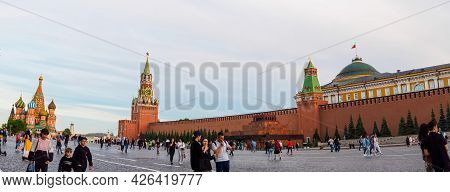 Moscow, Russia - May 24, 2021: St. Basil's Cathedral, Spasskaya Tower, Senate Building And Kremlin W