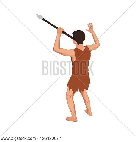 Prehistoric Primitive Person Holding Spear Isometric Icon 3d Vector Illustration