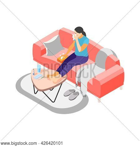 Isometric Icon With Sick Woman With Runny Nose Blowing 3d Vector Illustration