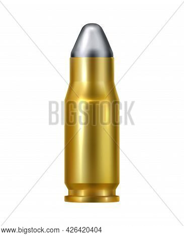 Realistic Bullet Cartridge For Handgun Vector Illustration