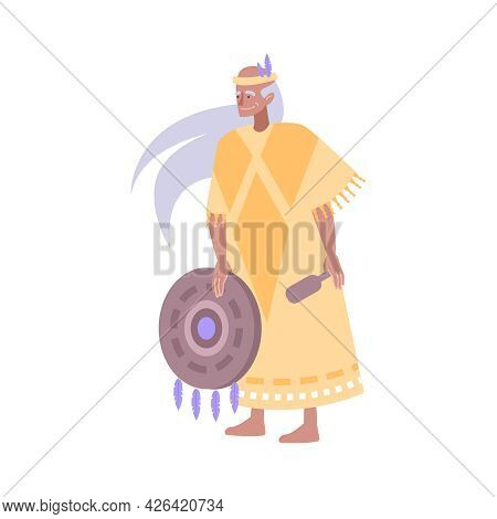 Flat Character Of Smiling Elderly Indian Shaman In Traditional Costume Holding Tambourine Vector Ill