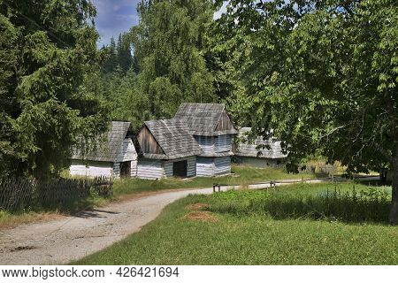 Museum Of Slovak Village In Martin: Orava Region - Cabinet Log Buildings For Grain Storage.