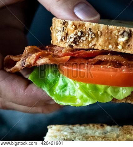 Close Up Of A Hand Holding A Bacon And Tomato Sandwich.