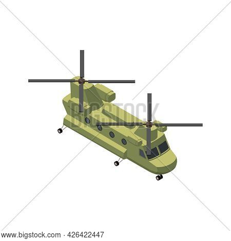 Military Air Forces Isometric Icon With Boeing Ch47 Chinook 3d Vector Illustration