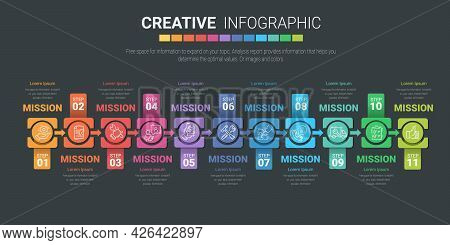 Infographic Design Template With Numbers 11 Option For Presentation Infographic, Timeline Infographi