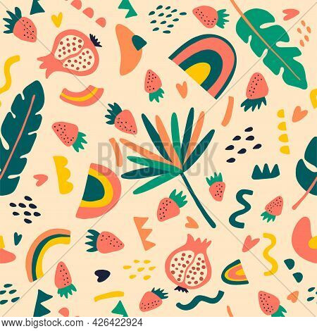 Tropical Fruit Mix Seamless Pattern. Strawberry, Rainbow, Dots, Monstera, Pomegranate On Pink Backgr