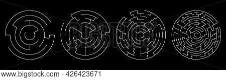 Set Of Vector Mazes. Circle Labyrinth Illustration Isolated On Black Background