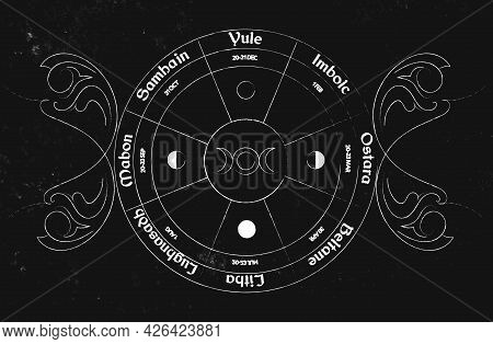 Wheel Of The Year Vector Design. Occult Wicca Symbols Illustration