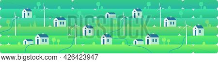 Wind Power. Banner Wind Turbines. Green Energy Industrial Concept. Vector Illustration In Flat Style