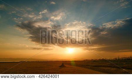 Dramatic Sunset Sky Range Beautiful Landscape Dusk Golden Time Vibrant Sky. Beautiful Landscape Vivi