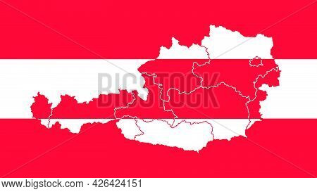 Austia National Flag With Administrative Regions Map Border Inside, Detailed Multicolored Vector Ill