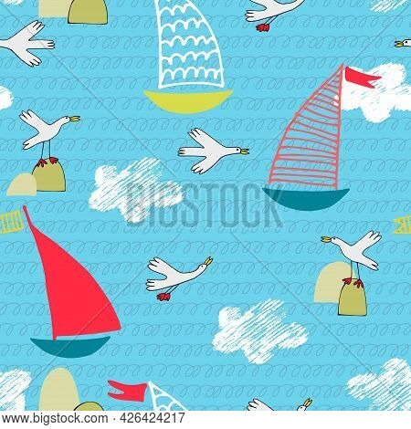 Seamless Pattern With Sailboats, Sea Birds, Waves And Clouds In Cartoon Style