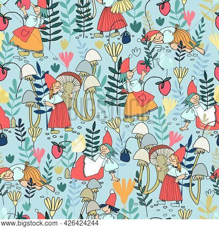 Seamless Pattern With Funny Female Gnomes Gathering Berries, Mushrooms, Flowers. Fairy Tale Elf Girl
