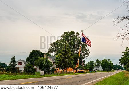 Grand Ledge, Mi - July 11th: Flying Upside Down American Flag As A Sign Of Distress In Grand Ledge O