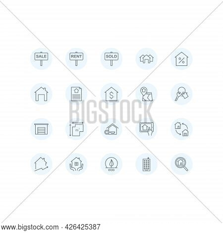 Real Estate Flat Line Icons Set. Includes Such As Sicons As A House, Apartment, Keys, Garage, House