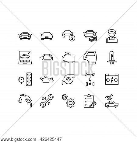 Car Repair Service Flat Line Icons Set. Mechanic, Computer Diagnostics, Tools, Wheel, Battery, Trans