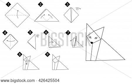 Step By Step How To Make Origami Fox . Vector Monochrome Instructions Illustration. Black And White