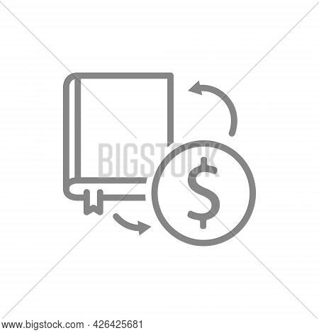Sale Of Books Line Icon. Exchange Of Book For A Coin, Bookstore, Online Library Symbol