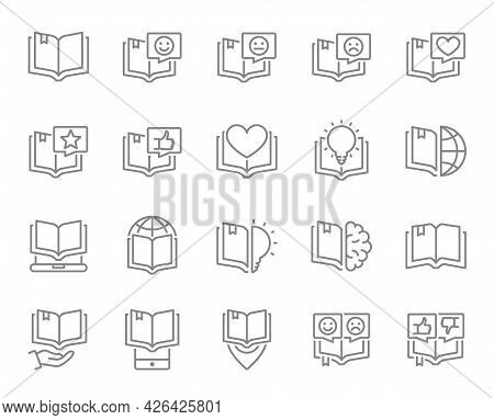 Set Of Open Book Line Icons. Brainstorm, Love Diary, Best Book, Encyclopedia, Good Literature And Mo
