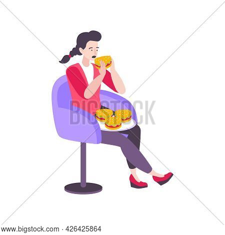 Stressed Woman Eating Burgers Trying To Handle Stress Flat Vector Illustration