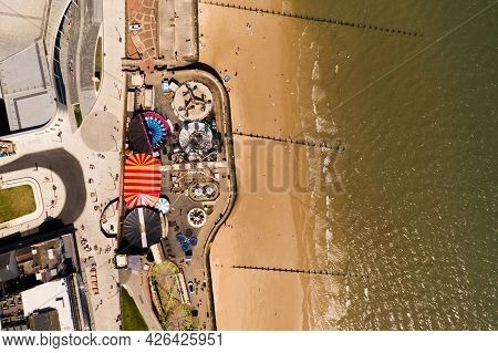 Bridlington, Uk, - July 9, 2021.  Aerial Landscape View Of The Funfair And Seafront Of The Small Yor