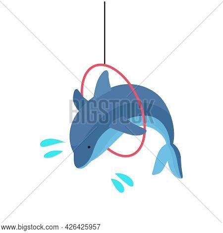 Dolphinarium Isometric Icon With Dolphin Jumping Through Hoop 3d Vector Illustration
