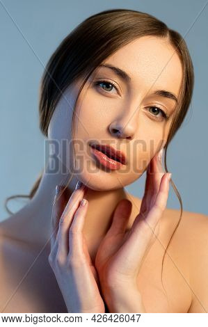 Facial Skin Care. Natural Cosmetology. Beauty Wellness. Freshness Moisturizing. Relaxed Woman With N