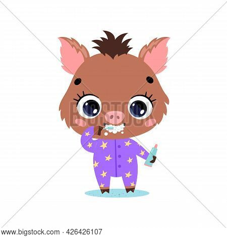 Vector Flat Doodle Cute Cartoon Baby Boar Pig Brushing Teeth. Animals Brush Their Teeth.