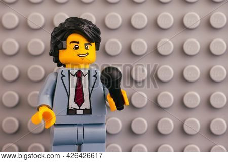 Tambov, Russian Federation - June 04, 2020 Portrait Of Lego Reporter Minifigure With A Microphone Ag