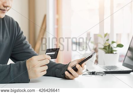 Businessmen Use Their Credit Cards Through Mobile Internet Banking Apps To Shop Online And Digital P