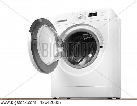 Major Appliance - Front And Down View Open Door Washing Machine Isolated White And Wood Background