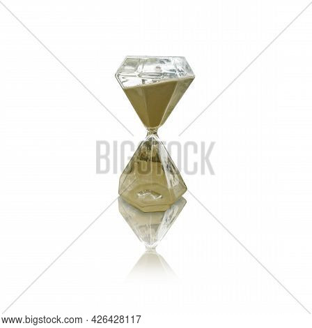 Isolate Hourglass On White Background With Clipping Path