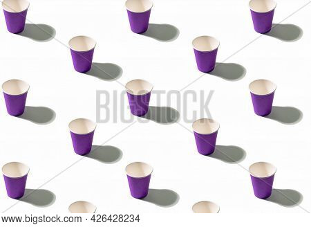 Serving Background. Cup Pattern. Coffee Takeaway. Summer Beverage. Collection Of Purple Symmetrical