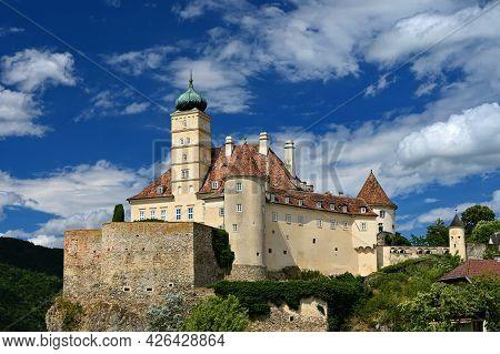 Schönbühel At Danube. Landscape Of Travel Destination At Wachau In Lower Austria. Concept For Old An