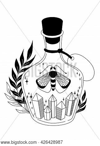 Magic Elixir. Bottle With Crystals. Witchcraft Vector Black And White Illustration.