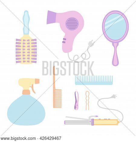 Hairdresser Elements Set Vector Illustration, Collection Of Diverse Equipment Of Hairdresser Blowdry