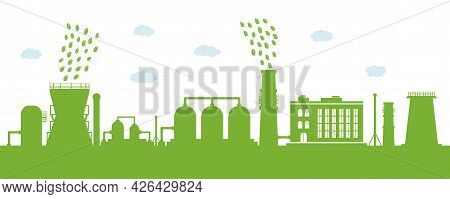 Environmentally Friendly Production. Silhouette Of A Large Plant With Cleaned Environmental Emission