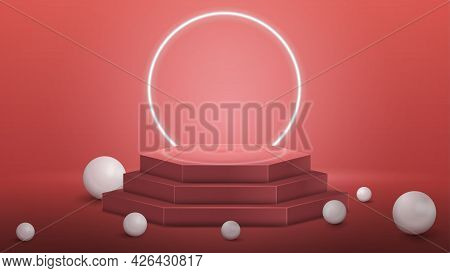 Pink Hexagon Podium With Realistic Spheres And Neon Ring On Background In Empty Pink Room