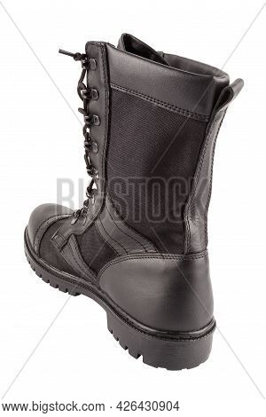 One New Black Lightweight Military Boot Isolated On White Background, Standing Vertically, View From