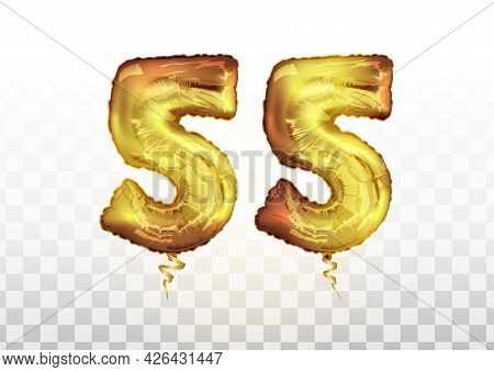 Vector Golden Number 55 Fifty Five Metallic Balloon. Party Decoration Golden Balloons. Anniversary S
