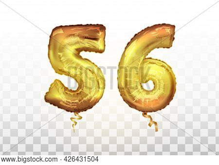 Vector Golden Foil Number 56 Fifty Six Metallic Balloon. Party Decoration Golden Balloons. Anniversa