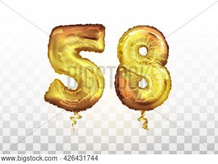 Vector Golden Foil Number 58 Fifty Eight Metallic Balloon. Party Decoration Golden Balloons. Anniver