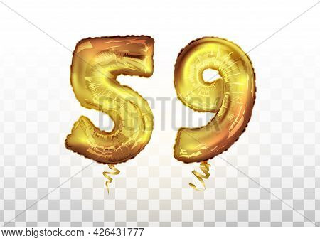 Vector Golden Foil Number 59 Fifty Nine Metallic Balloon. Party Decoration Golden Balloons. Annivers
