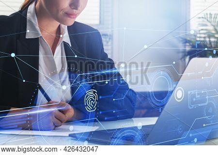 Businesswoman With Laptop Taking Notes, Desktop At Office Interior, Hologram White Glowing Informati