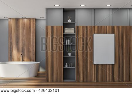 Empty Mockup White Poster In The Bathroom Interior With Wooden Floor And Large Elements. Grey Walls