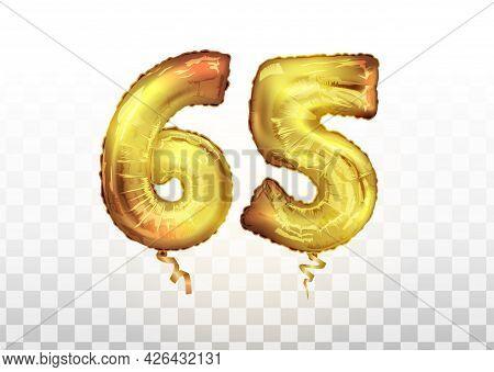 Vector Golden Number 65 Sixty Five Metallic Balloon. Party Decoration Golden Balloons. Anniversary S