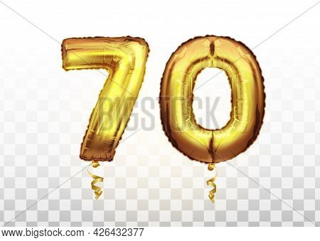 Golden Number Seventy Metallic Balloon. Party Decoration Golden Balloons. Anniversary Sign For Happy