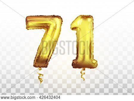 Vector Golden Number 71 Seventy One Metallic Balloon. Party Decoration Golden Balloons. Anniversary