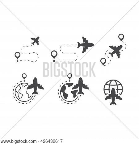 Airplane, Globe And Location Pin Vector Icon Set. Flight Dashed Line Route, Commercial Airplane Flyi